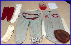 1960 ED BAILEY FLANNEL CINCINNATI REDLEGS COMPLETE UNIFORM & CATCHERS MITT GLOVE