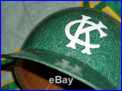 1960s 70s KANSAS CITY ATHLETICS A's FIBERGLASS GAME BATTING HELMET BASEBALL USED