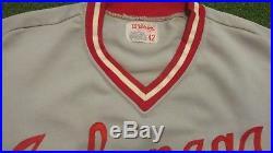 1970s ARKANSAS RAZORBACKS VINTAGE GAME USED WORN BASEBALL JERSEY WILSON SIZE 44