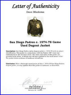 1974-1978 San Diego Padres Game Used Worn Vintage Wilson Dugout Jacket Loa