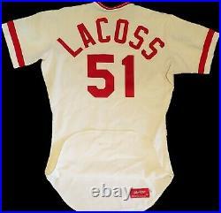 1980 Cincinnati Reds Mike LaCoss GAME USED WORN Jersey Rawlings 42 set 1