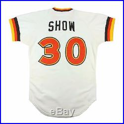 1981 ERIC SHOW SAN DIEGO PADRES GAME USED WORN ROOKIE HOME JERSEY MOST PADS W's