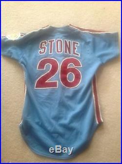 1983 Game Worn Phila Phillies Jersey Jeff Stone & Von Hayes World Series Year 26