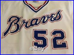 1986 Game worn, game used Atlanta Braves home white jersey, #52