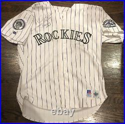 1993 JIM TATUM SIGNED Colorado Rockies game worn jersey -Inaugural year patch