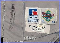 1993 Mike Jackson game used San Francisco Giants road gray #42 jersey