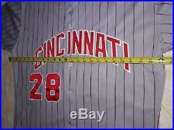 1998 Cincinnati Reds #28 Lenny Harris Game Used Worn Jersey Russell Diamond 48