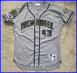1998 Milwaukee Brewers game used worn jersey Doug Jones MLB