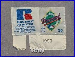 1999 BJ Ryan Baltimore Orioles game used road jersey Cal Ripken Sr. Mem. Patch