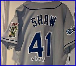1999 Jeff Shaw LA Dodgers game used/worn jersey Drysdale Heroes patch
