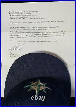 1999 Seattle Mariners Ken Griffey Jr GAME USED WORN Hat Cap Mediema LOA