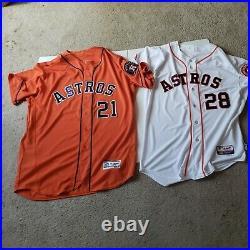 2 game used/issued Jon Singleton Houston Astros Jersey. Orange home white
