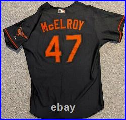 2001 Chuck McElroy game used Baltimore Orioles black alternate jersey