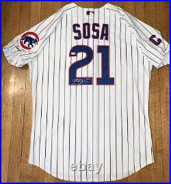 2004 Chicago Cubs Sammy Sosa Game Used Home Signed Jersey Captains Patch