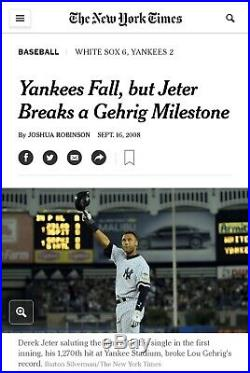 2008 Derek Jeter New York Yankees GAME USED WORN Pinstripe Pants STEINER LOA