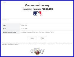 2010 Michael Bourn Game Used Worn Houston Astros TBTC Rainbow Sleeve Jersey RARE
