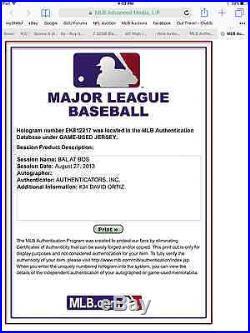 2013 Game Worn Used David Ortiz Red Sox Jersey MVP World Series Boston Strong