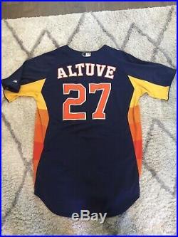 2013 Jose Altuve 2013 Houston Astros Game Used Rainbow BP Worn Jersey Heavy Use