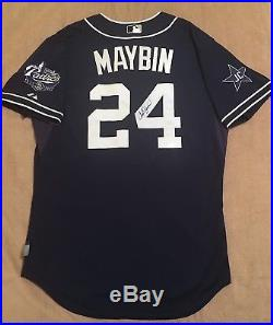 2014 CAMERON MAYBIN Game Used Padres Jersey #24 Gwynn Patch MLB Authenticated