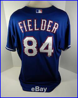 2014 Texas Rangers Prince Fielder #84 Game Used Blue Jersey Miedema LOA