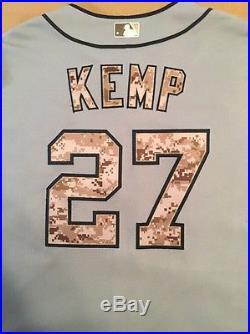 2015 Game Used MATT KEMP Padres Road Memorial Day Jersey #27 Dodgers Braves Tar