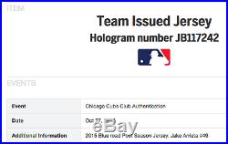 2015 Jake Arrieta Cubs Postseason Team Issued Blue Jersey Mlb #jb117242 Cy Young