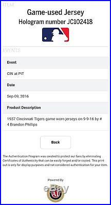 2016 Brandon Phillips Game Used HR Uniform! MLB HOLO! Throwback! Cincinnati Reds