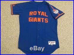 2016 TBTC Tim Teufel sz 46 Royal Giants New York Mets GAME USED JERSEY MLB HOLO