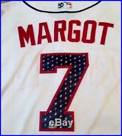 2017 MANUEL MARGOT Game Used Padres Jersey #7 Stars & Stripes MLB Authenticated