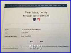 2017 Mike Trout Angels Team Issued Throwback Jersey MLB Authentication Hologram