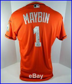 2018 Miami Marlins Cameron Maybin #1 Game Used Orange Spring Training Jersey