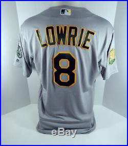 2018 Oakland Athletics A's Jed Lowrie #8 Game Issued Grey Jersey 50th Patch