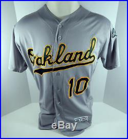 2018 Oakland Athletics A's Marcus Semien #10 Game Issued Grey Jersey 50th Patch