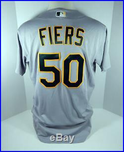 2018 Oakland Athletics A's Mike Fiers #50 Game Issued Grey Jersey 50th Patch