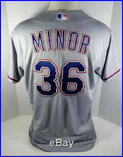 2018 Texas Rangers Mike Minor #36 Game Issued Grey Jersey