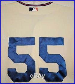 #55 Randy Niemann New York Mets MLB Auth Game Used Cream Throwback Jersey 2009
