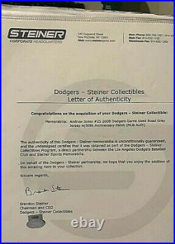 ANDRUW JONES Game Worn Los Angeles Dodgers Jersey 1/1 Steiner LOA MLB 50th 2008