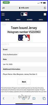 Alex Bregman Houston Astros Game Issued Jersey 2018 Postseason MLB Auth