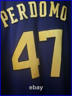 Angel Perdomo 8/18/20 GAME USED MLB DEBUT Milwaukee Brewers Navy Jersey VS385466