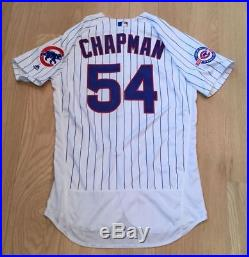 quality design f3a37 557f2 Aroldis Chapman Game Issued Used Worn Chicago Cubs Jersey ...