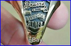 Atlanta Braves 1999 Baseball Championship 10k Gold Ring Team Sourced Staff