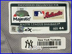 BRETT GARDNER #11 sz 44 2018 Yankees Game used Jersey ROAD POST SEASON MLB HOLO