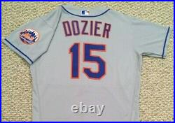 BRIAN DOZIER size 44 #15 2020 New York Mets game jersey issued road MLB HOLOGRAM
