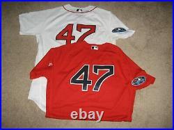 Boston Red Sox Game Worn/Issued Tyler Thornburg 2018 Post Season Jerseys (2)
