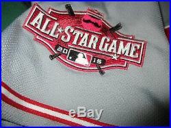 Brayan Pena 2015 game worn Cincinnati Reds road gray jersey with allstar patch
