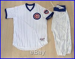 Chicago Cubs Game Team Issued Used Tbc 1988 Jersey Pants Blank Uniform Pinstripe