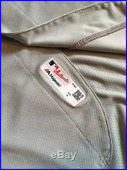Carlos Ruiz game worn used 2016 Phillies Road jersey MLB COA
