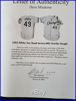 Charlie Hough game used worn 1992 White Sox road jersey, Miedema Authenticated