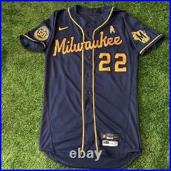 Christian Yelich Milwaukee Brewers Game Used Worn Jersey 2020 146th Career HR