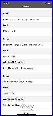 Cincinnati reds game used jersey